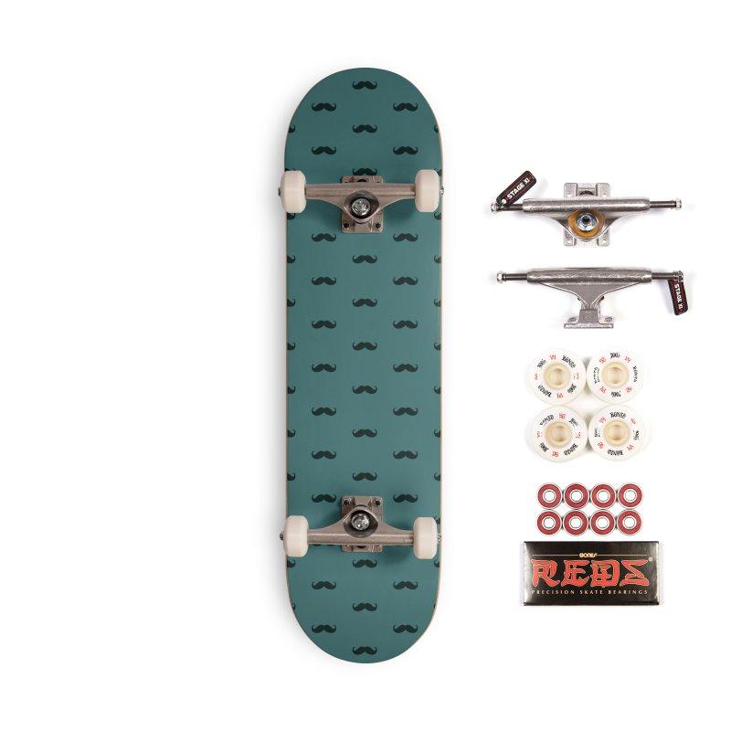 Mustache Motif Pattern Accessories Skateboard by Mr Loco Motif