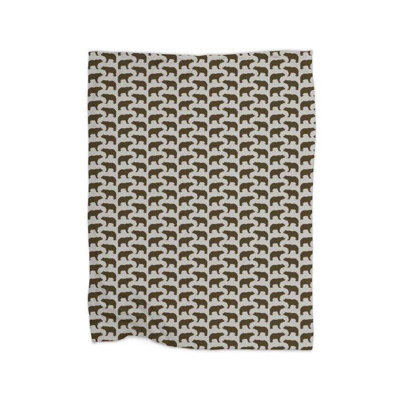 Bear Motif Pattern Home Fleece Blanket Blanket by Mr Loco Motif