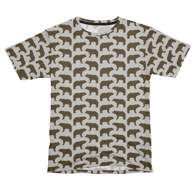 Bear Motif Pattern Women's Unisex French Terry T-Shirt Cut & Sew by Mr Loco Motif