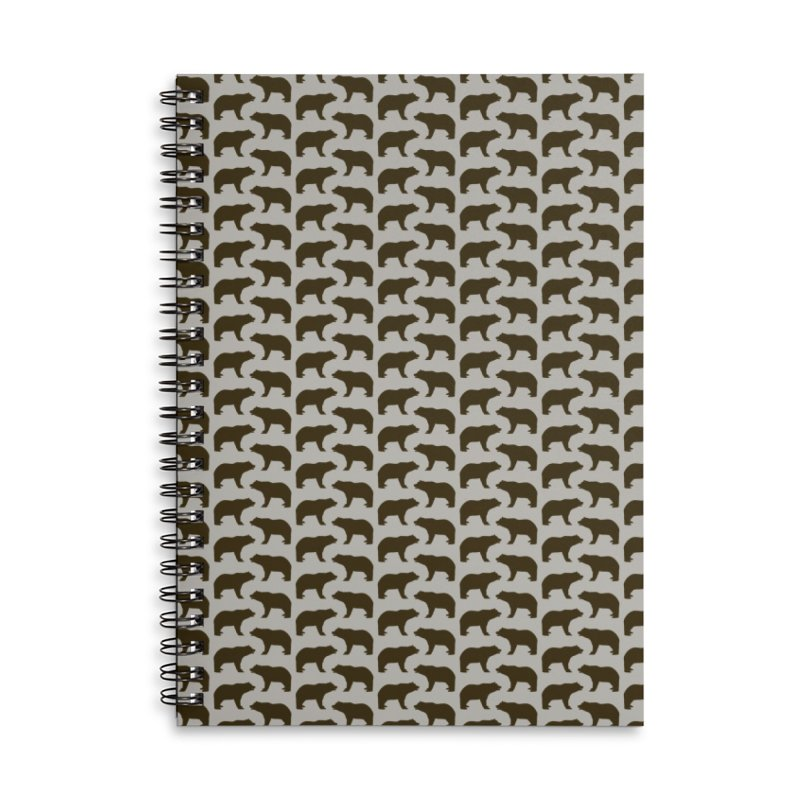 Bear Motif Pattern Accessories Lined Spiral Notebook by Mr Loco Motif