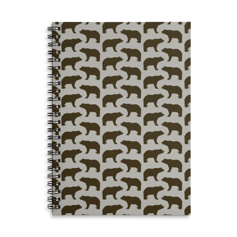 Bear Motif Pattern Accessories Lined Spiral Notebook by Mr Loco Motif - Artist Shop
