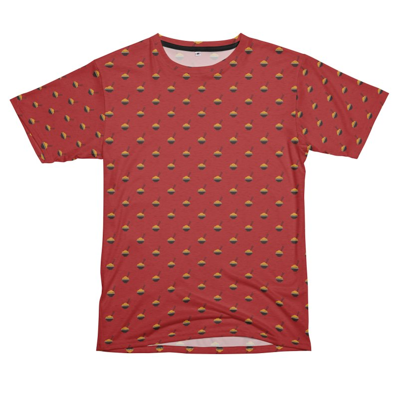 Noodles Motif Pattern Women's Unisex French Terry T-Shirt Cut & Sew by Mr Loco Motif