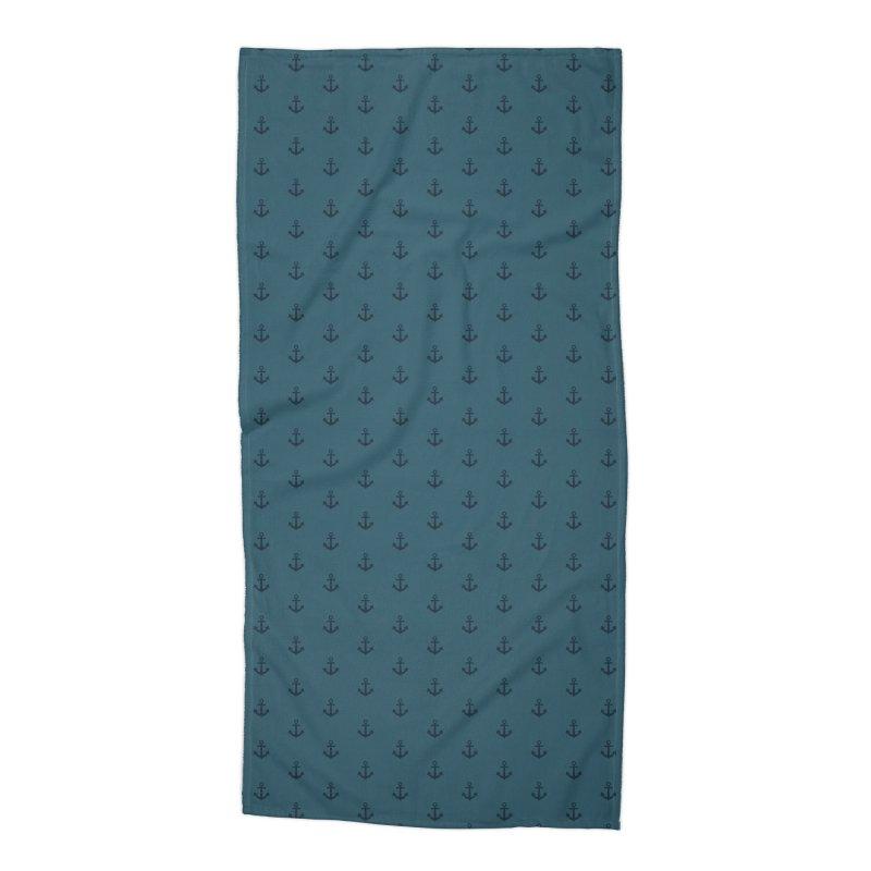 Anchor Motif Pattern Accessories Beach Towel by Mr Loco Motif