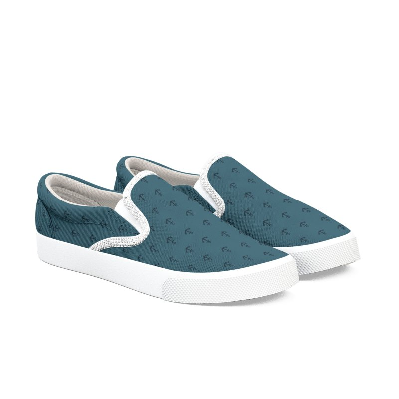 Anchor Motif Pattern Men's Slip-On Shoes by Mr Loco Motif - Artist Shop
