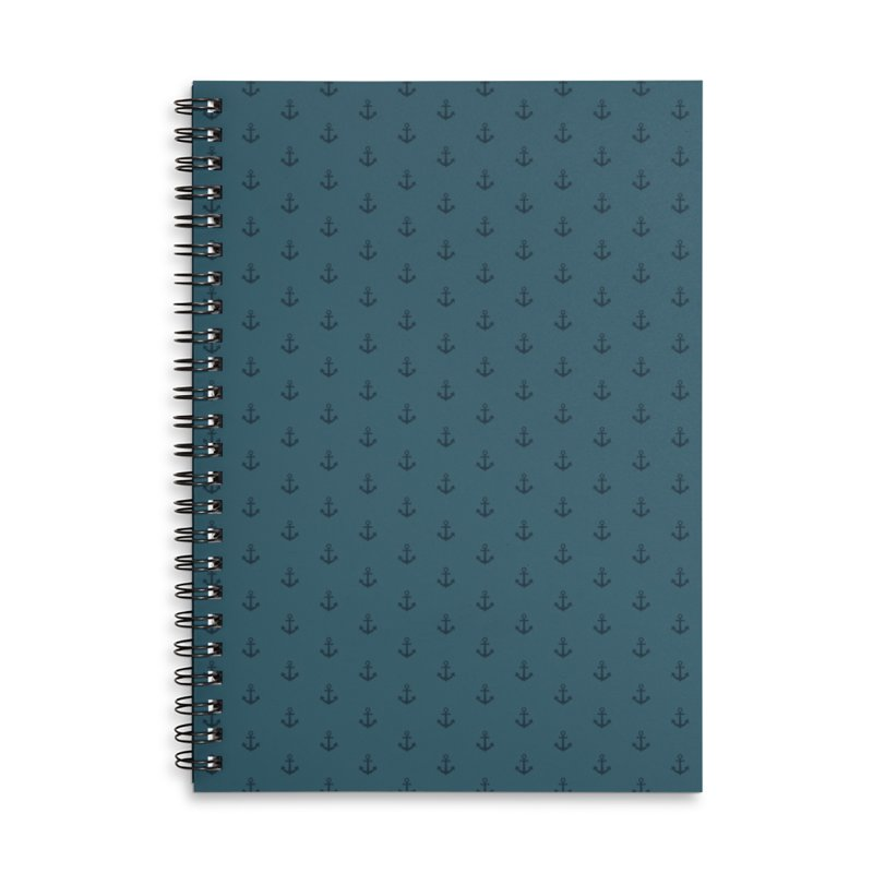 Anchor Motif Pattern Accessories Lined Spiral Notebook by Mr Loco Motif