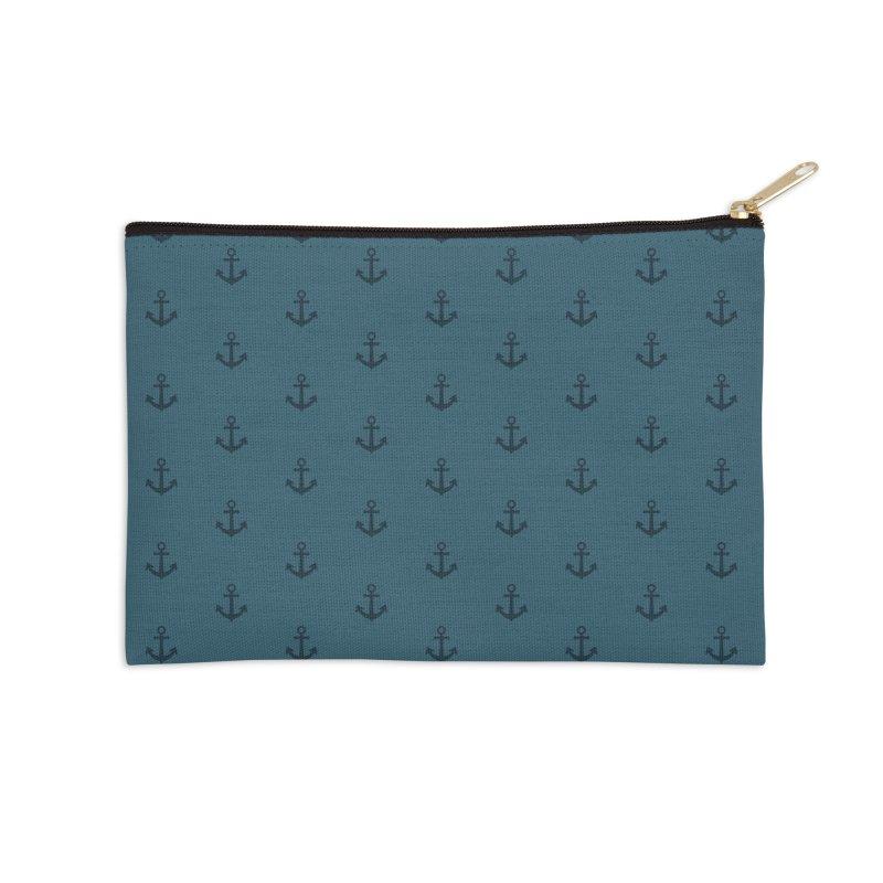 Anchor Motif Pattern Accessories Zip Pouch by Mr Loco Motif