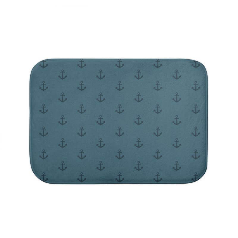Anchor Motif Pattern Home Bath Mat by Mr Loco Motif