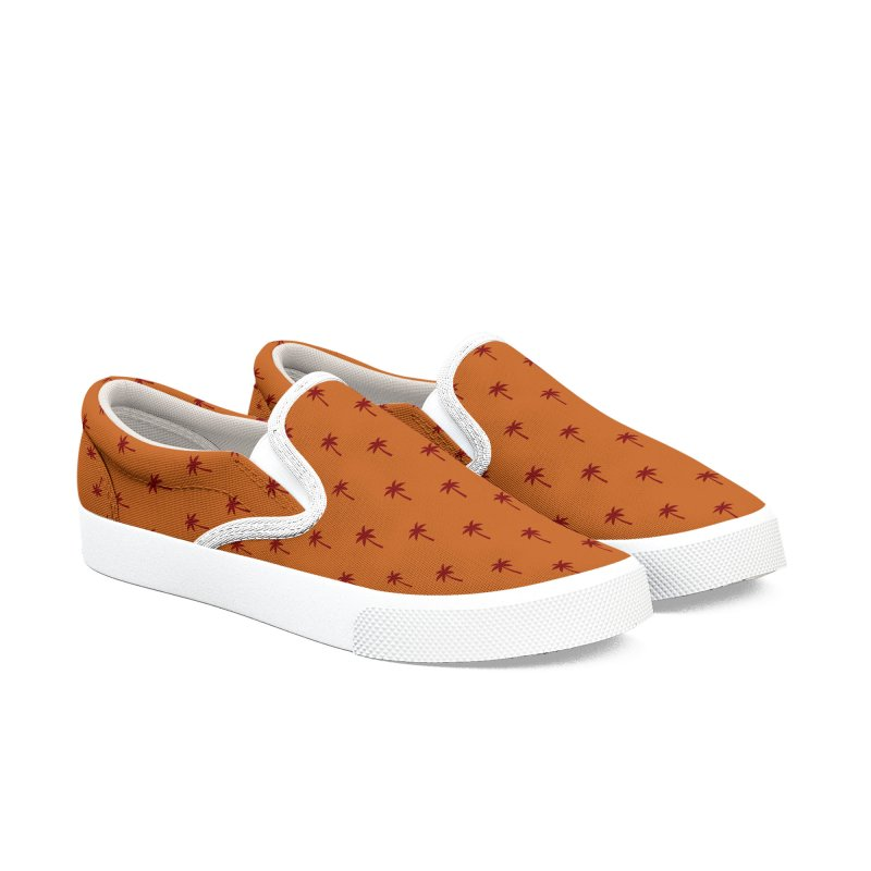 Palm Motif Pattern Women's Slip-On Shoes by Mr Loco Motif