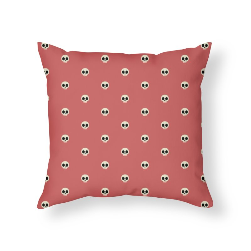 Skull Motif Pattern Home Throw Pillow by Mr Loco Motif
