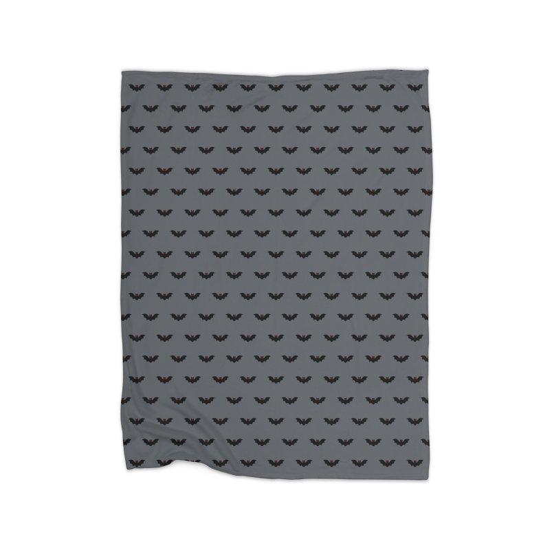 Bat Motif Pattern Home Fleece Blanket Blanket by Mr Loco Motif