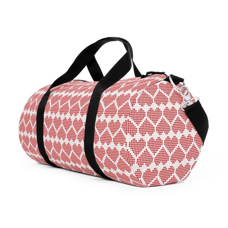 Hearts Motif Pattern Accessories Duffel Bag Bag by Mr Loco Motif