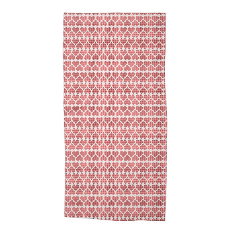 Hearts Motif Pattern Accessories Beach Towel by Mr Loco Motif