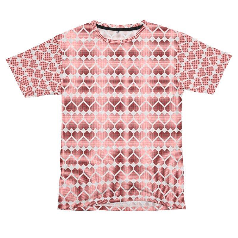 Hearts Motif Pattern Men's French Terry T-Shirt Cut & Sew by Mr Loco Motif