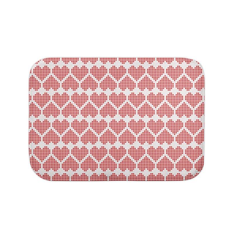 Hearts Motif Pattern Home Bath Mat by Mr Loco Motif
