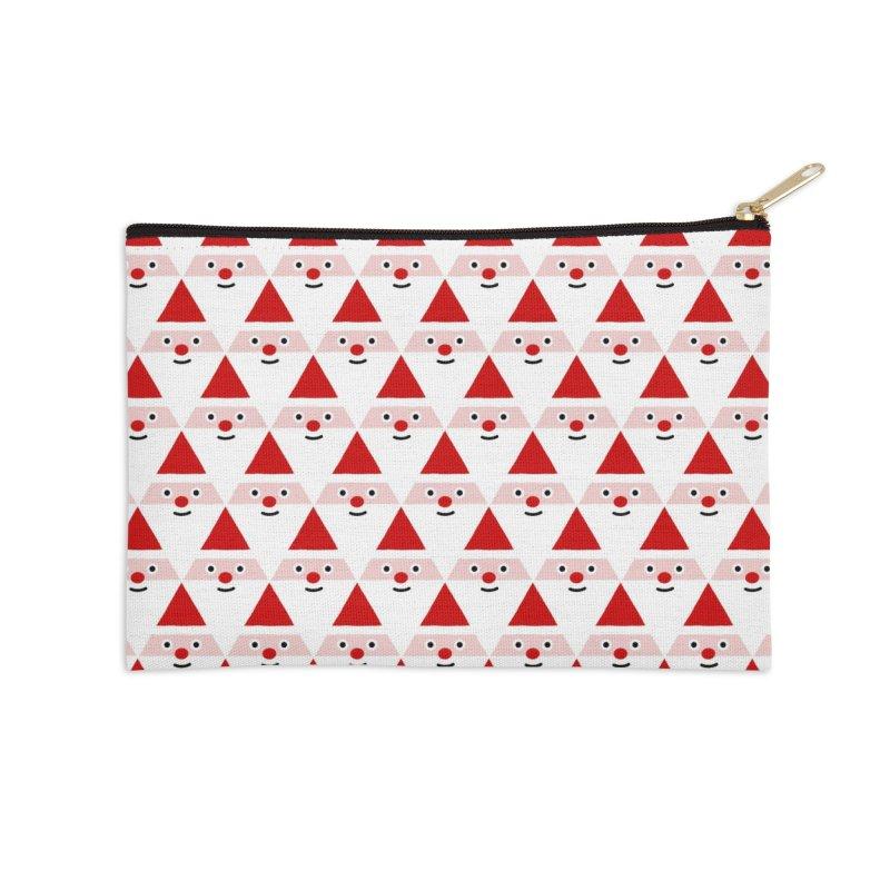 Santa Pattern Accessories Zip Pouch by Mr Loco Motif