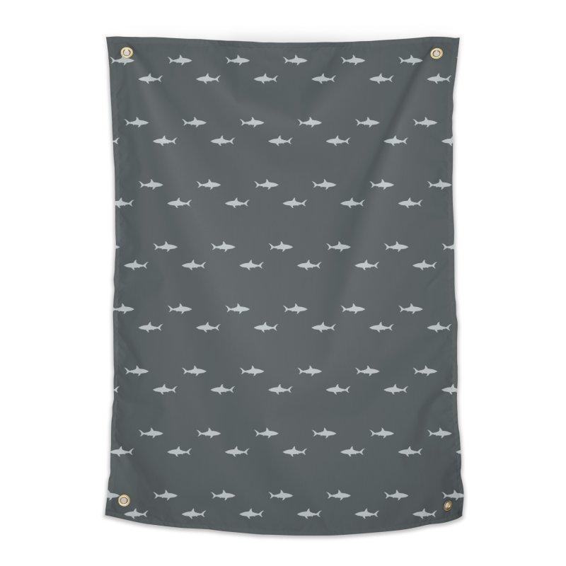 Shark Motif Pattern Home Tapestry by Mr Loco Motif