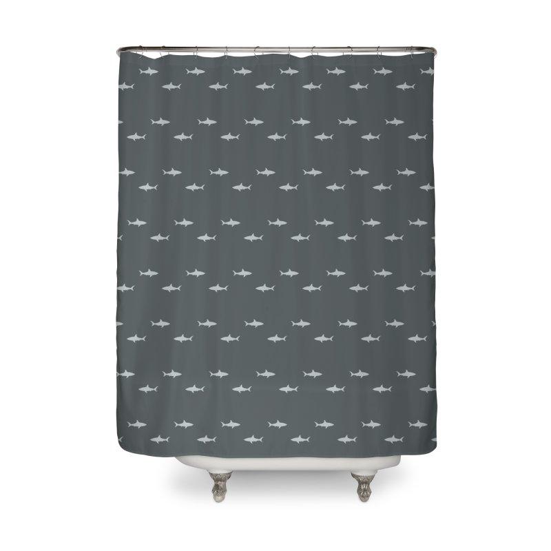 Shark Motif Pattern Home Shower Curtain by Mr Loco Motif