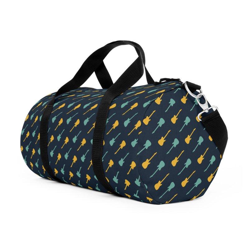 Guitar Motif Pattern Accessories Duffel Bag Bag by Mr Loco Motif