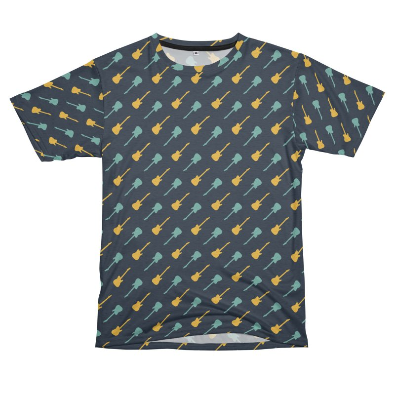Guitar Motif Pattern Men's French Terry T-Shirt Cut & Sew by Mr Loco Motif - Artist Shop