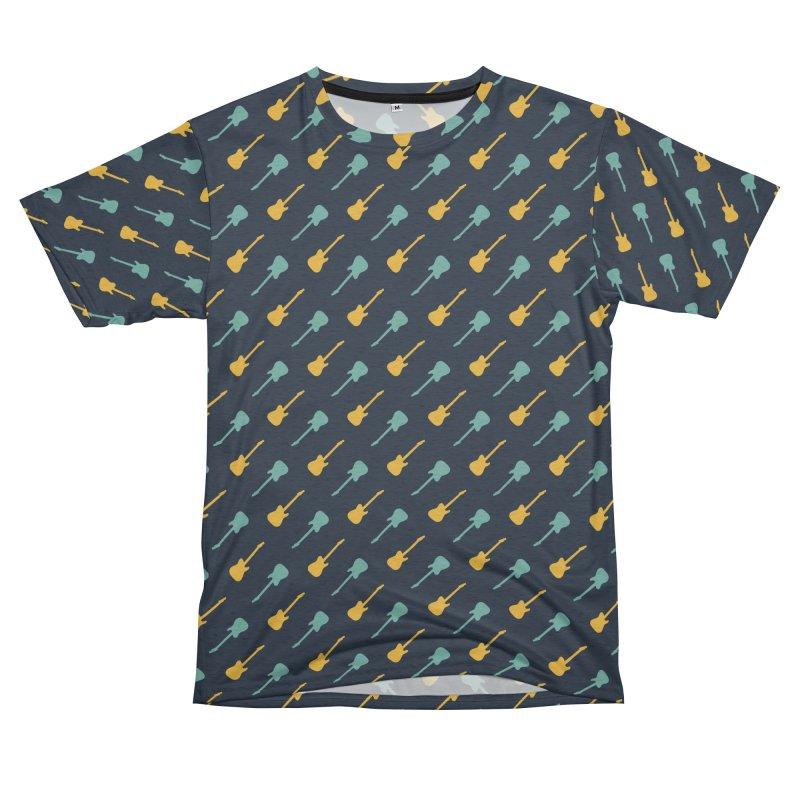 Guitar Motif Pattern Women's Unisex French Terry T-Shirt Cut & Sew by Mr Loco Motif