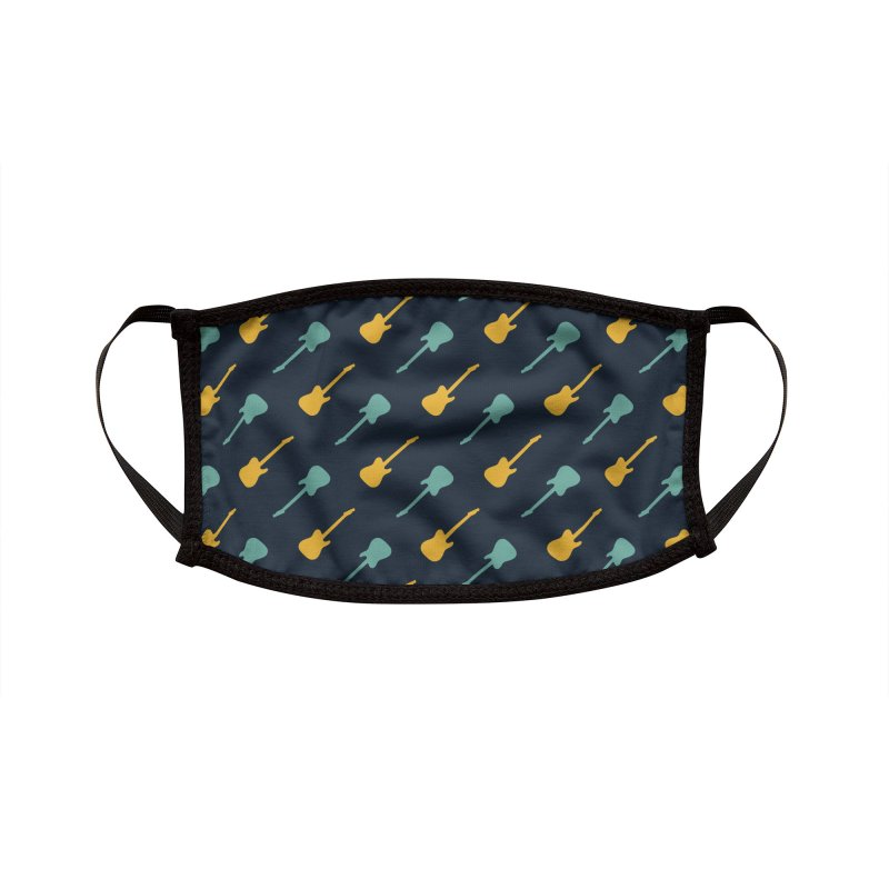 Guitar Motif Pattern Accessories Face Mask by Mr Loco Motif