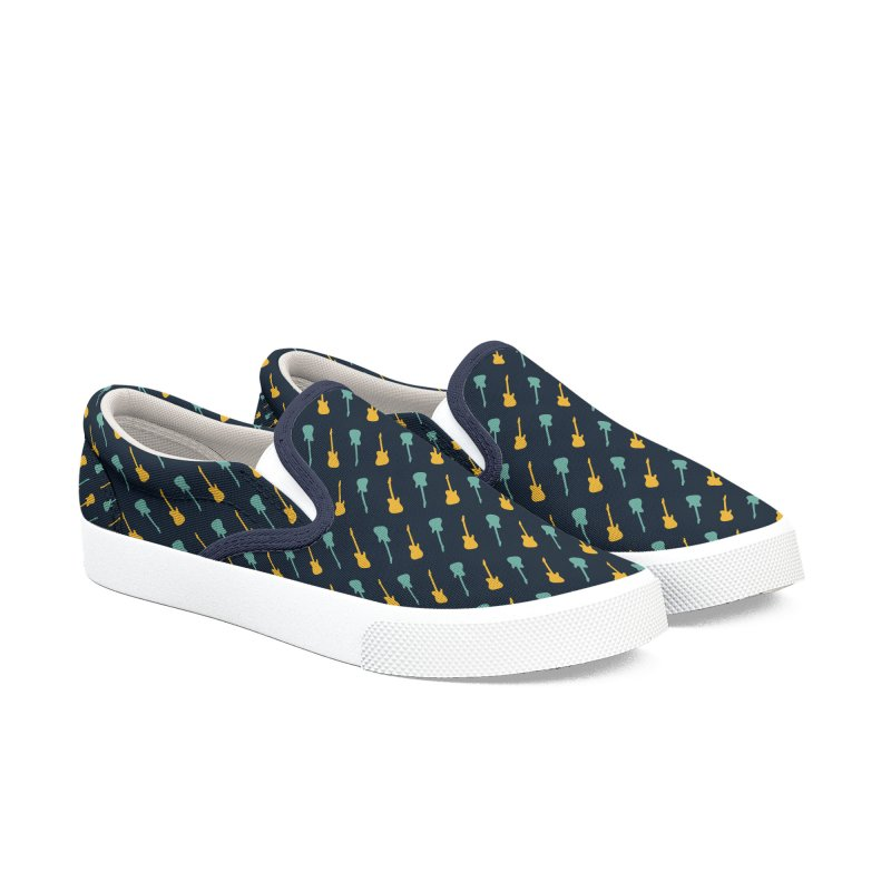 Guitar Motif Pattern Women's Slip-On Shoes by Mr Loco Motif