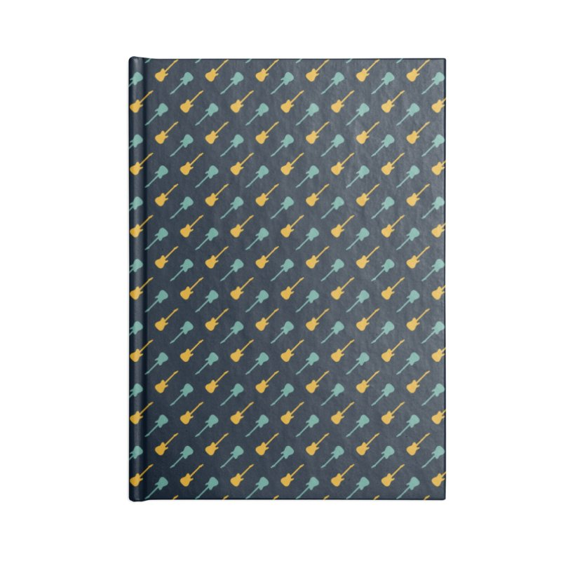 Guitar Motif Pattern Accessories Lined Journal Notebook by Mr Loco Motif