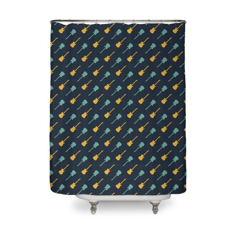Guitar Motif Pattern Home Shower Curtain by Mr Loco Motif - Artist Shop