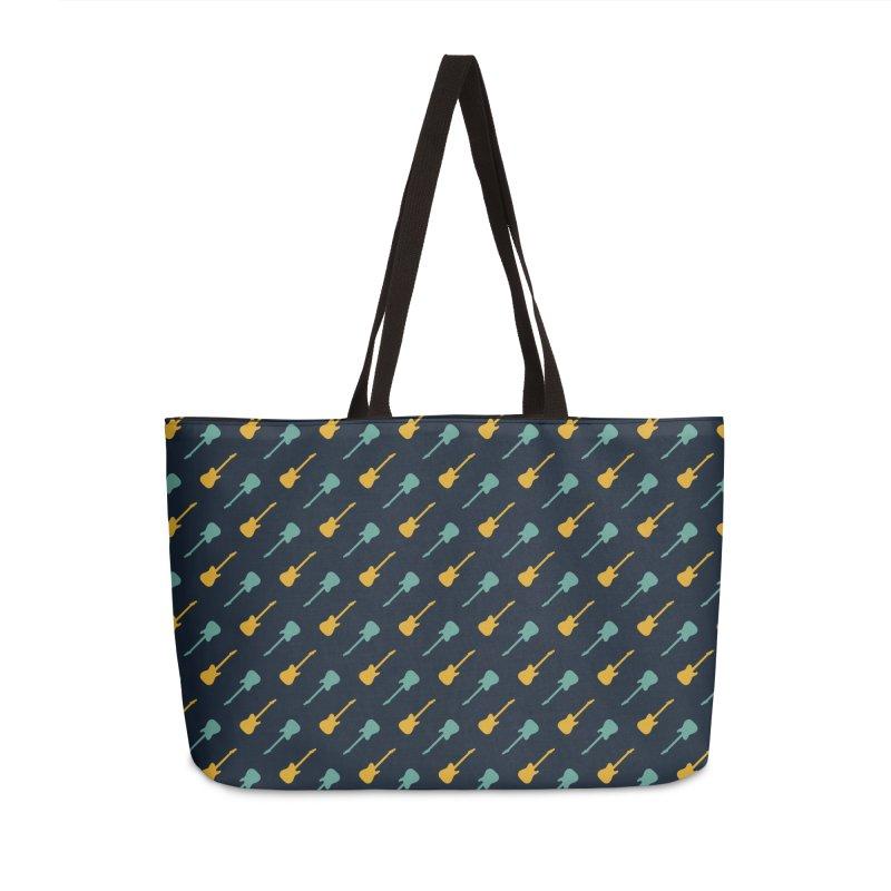 Guitar Motif Pattern Accessories Weekender Bag Bag by Mr Loco Motif