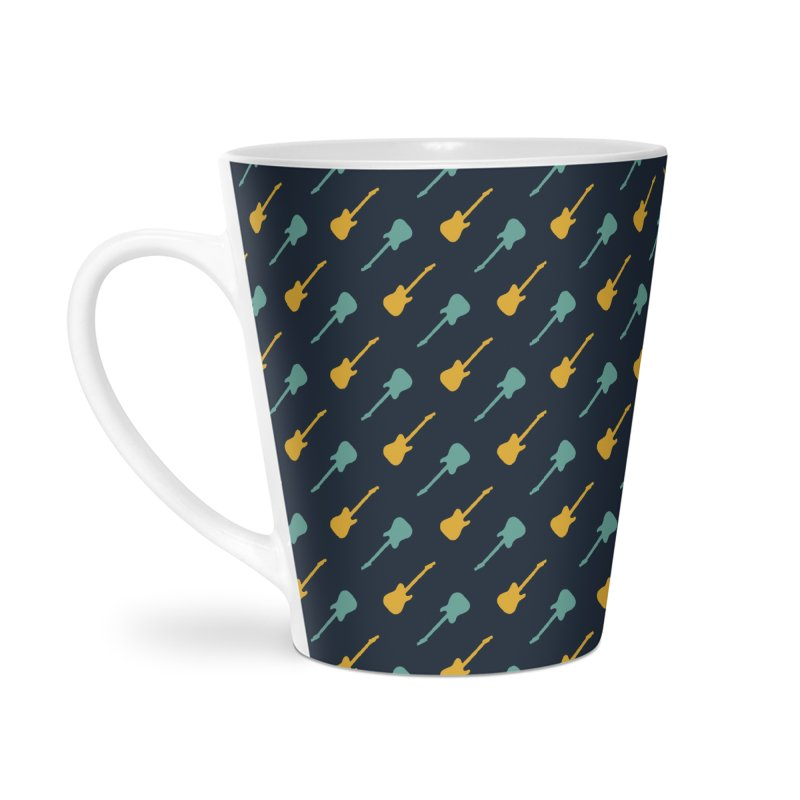 Guitar Motif Pattern Accessories Latte Mug by Mr Loco Motif - Artist Shop