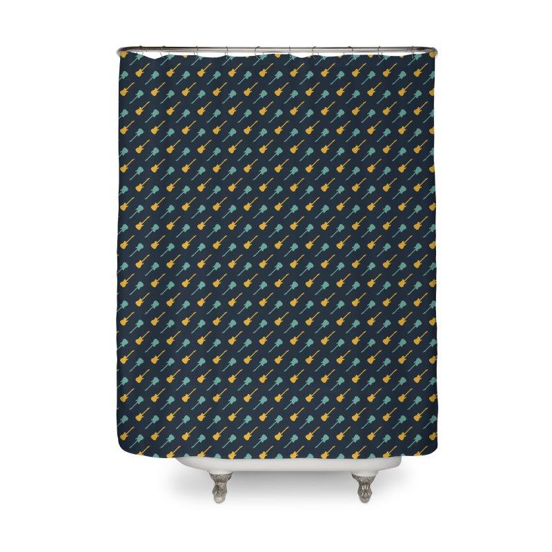 Guitar Motif Pattern Home Shower Curtain by Mr Loco Motif