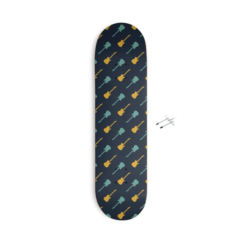 Guitar Motif Pattern Accessories With Hanging Hardware Skateboard by Mr Loco Motif - Artist Shop