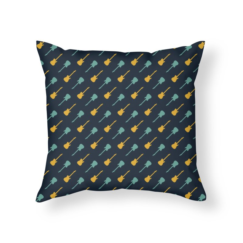 Guitar Motif Pattern Home Throw Pillow by Mr Loco Motif