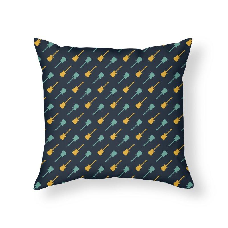 Guitar Motif Pattern Home Throw Pillow by Mr Loco Motif