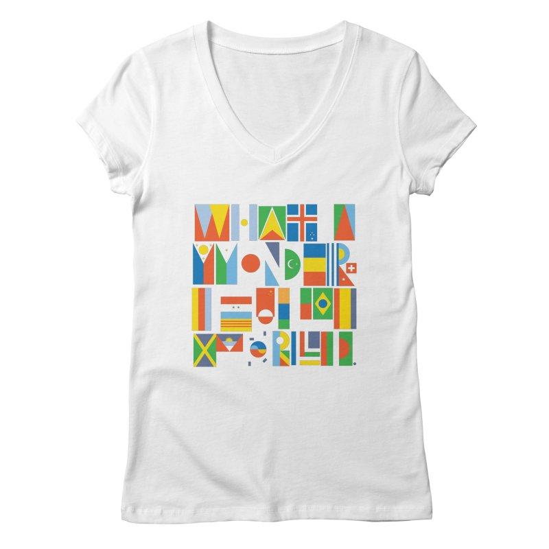 What A Wonderful World II Women's V-Neck by mrrtist21's Artist Shop