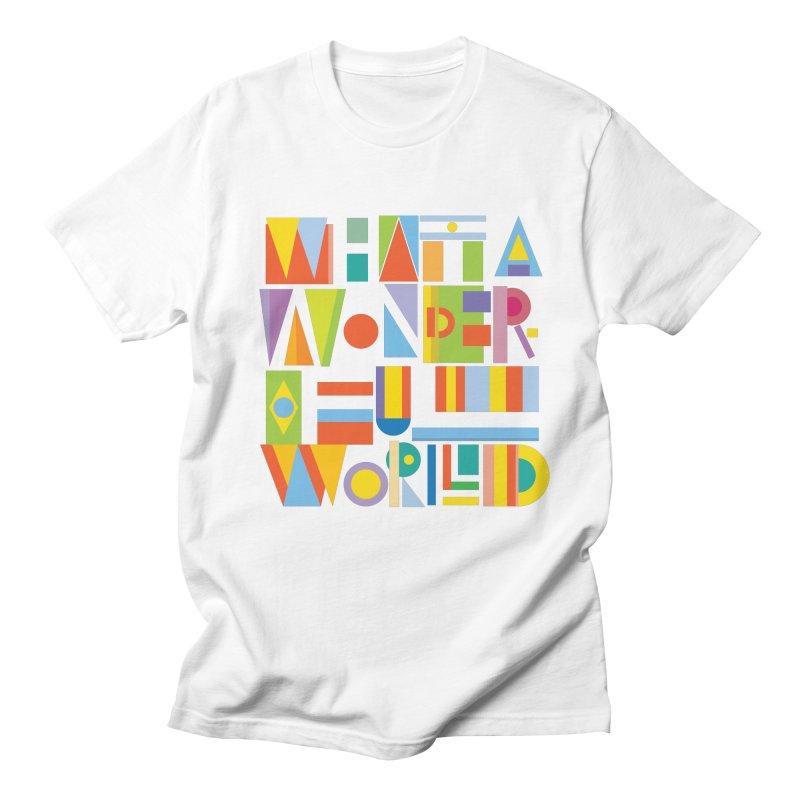 What A Wonderful World in Men's T-shirt White by mrrtist21's Artist Shop