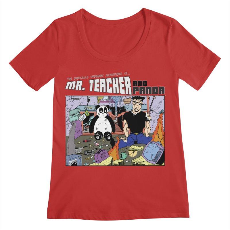 Garbage Disposal Women's Regular Scoop Neck by Mr. Teacher and Panda Merchandise