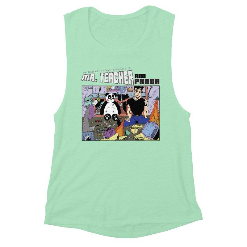Garbage Disposal Women's Muscle Tank by Mr. Teacher and Panda Merchandise