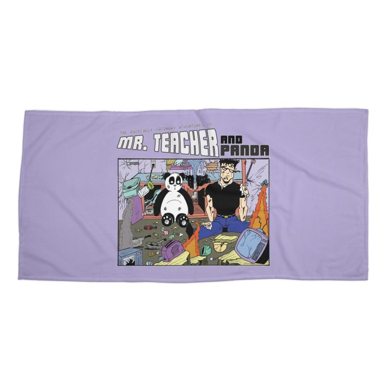 Garbage Disposal Accessories Beach Towel by Mr. Teacher and Panda Merchandise