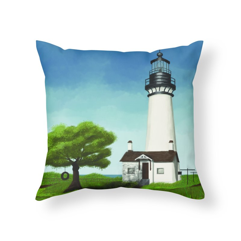 The Lighthouse - Day Home Throw Pillow by Ms. Christi Design