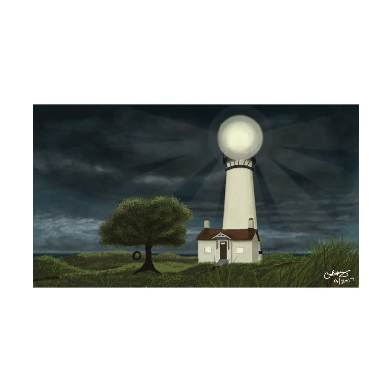 The Lighthouse - Night Home Shower Curtain by Ms. Christi Design
