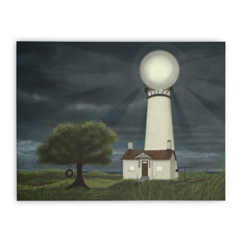The Lighthouse - Night Home Stretched Canvas by Ms. Christi Design