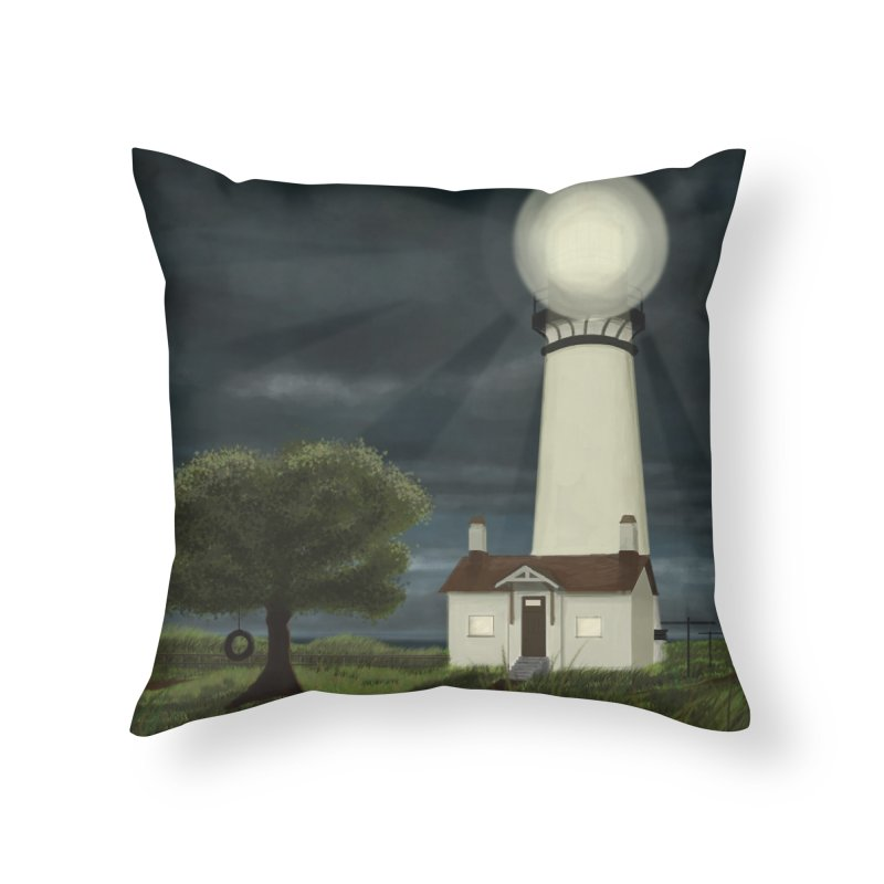 The Lighthouse - Night Home Throw Pillow by Ms. Christi Design