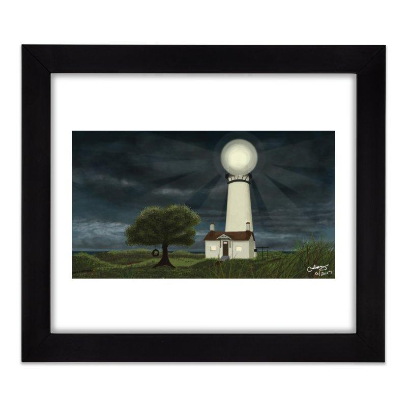The Lighthouse - Night Home Framed Fine Art Print by Ms. Christi Design