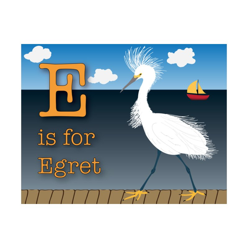 E is for Egret Home Fine Art Print by Ms. Christi Design