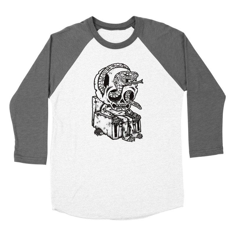 Skulls Snakes Spiders BW Men's Baseball Triblend T-Shirt by msieben's Shop