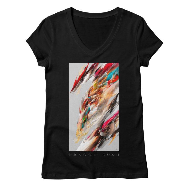 DRAGON RUSH Women's V-Neck by mu's Artist Shop