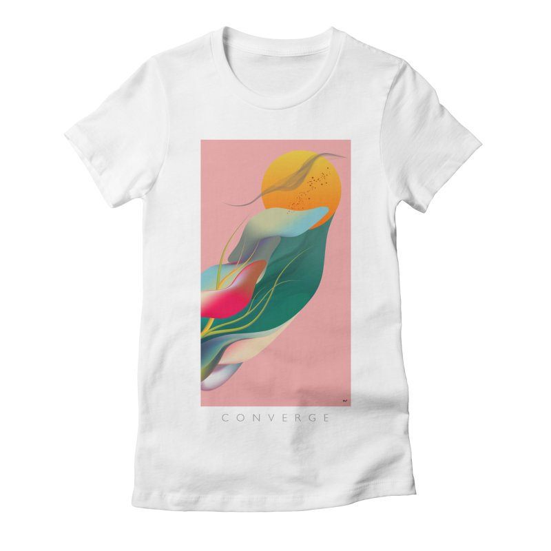 CONVERGE in Women's Fitted T-Shirt White by mu's Artist Shop