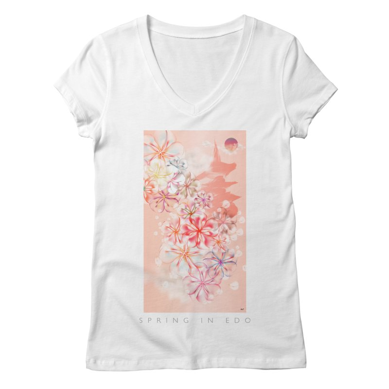 SPRING IN EDO in Women's V-Neck White by mu's Artist Shop