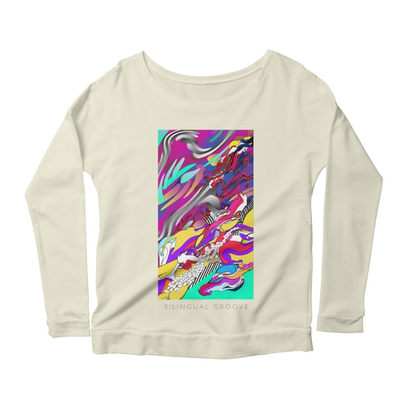 BILINGUAL GROOVE Women's Longsleeve Scoopneck  by mu's Artist Shop